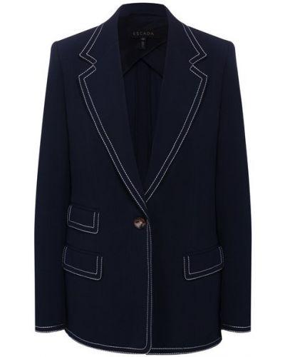 Шерстяной синий пиджак с подкладкой Escada