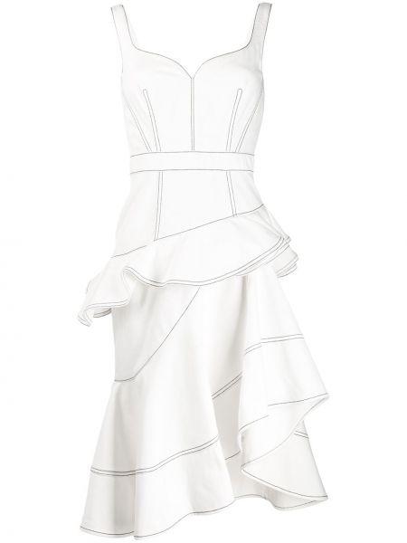 Платье с оборками с вырезом Alexander Mcqueen
