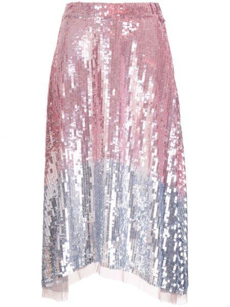 Розовая с завышенной талией юбка миди на молнии с пайетками Markus Lupfer