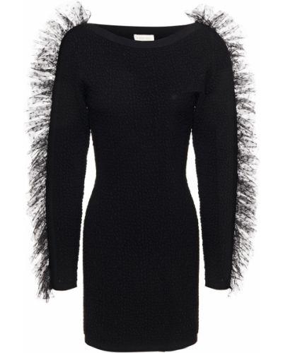 Черное платье мини из фатина с опушкой Ronny Kobo