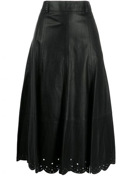 Кожаная черная с завышенной талией юбка миди с поясом Hilfiger Collection