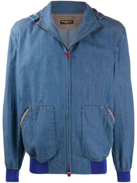 Синяя джинсовая куртка на молнии с капюшоном Kiton