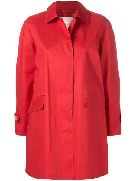 Красное пальто классическое с капюшоном с воротником Mackintosh
