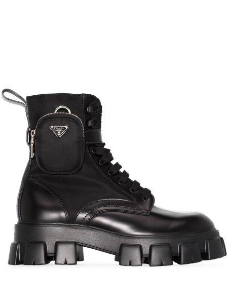 Czarny buty skórzane z prawdziwej skóry Prada