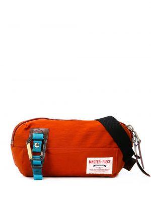 Оранжевая кожаная поясная сумка на молнии Master Piece