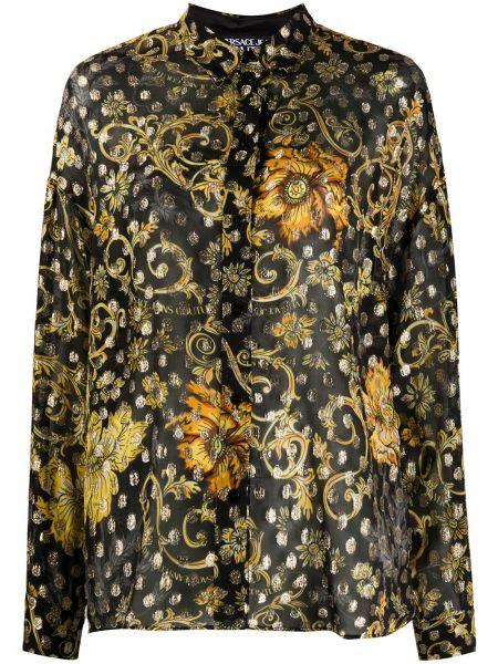 Джинсовая рубашка длинная - черная Versace Jeans Couture