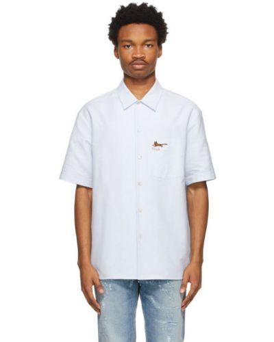 Niebieska koszula oxford krótki rękaw bawełniana Gucci