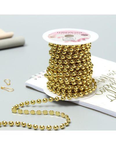 Ожерелье с жемчугом золотое арт узор
