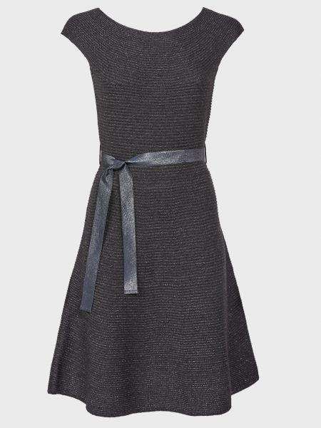 Шерстяное серое платье с поясом Luisa Spagnoli