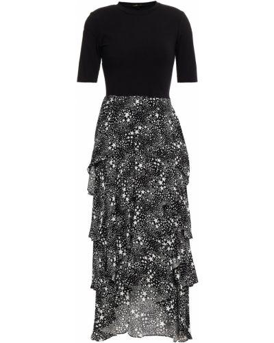 Трикотажное платье миди - черное Maje