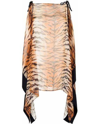 Шелковое платье трапеция прозрачное Roberto Cavalli