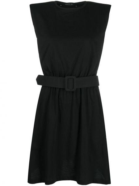 Трикотажное черное платье мини с поясом Federica Tosi