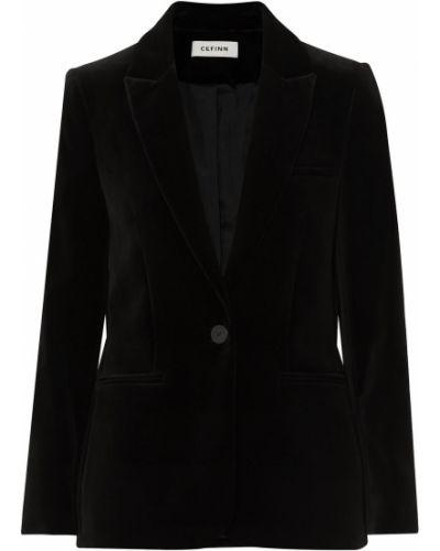 Бархатный черный пиджак с карманами Cefinn