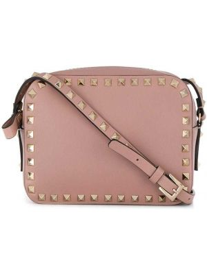 Повседневная розовая кожаная сумка с заклепками с карманами Valentino