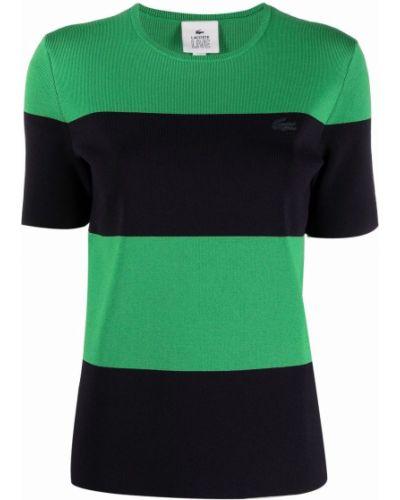 Zielony t-shirt z wiskozy z printem Lacoste Live