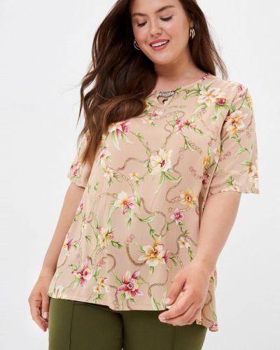 Бежевая блузка с коротким рукавом с короткими рукавами Prewoman