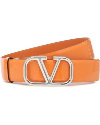 Кожаный оранжевый ремень с поясом Valentino Garavani