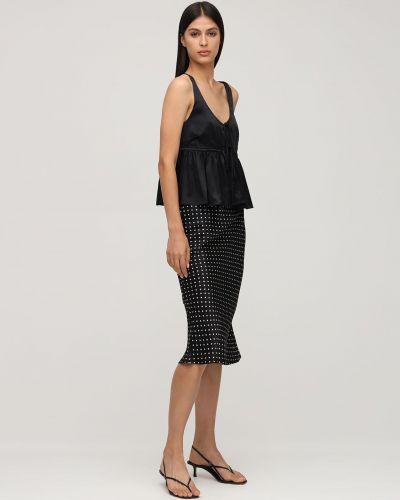 Czarna spódnica midi z jedwabiu z printem Ciao Lucia