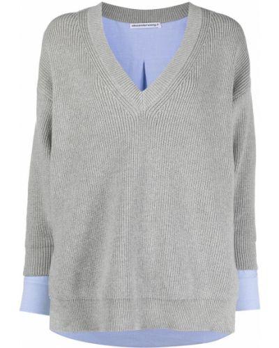 Światło bawełna pulower z długimi rękawami T By Alexander Wang