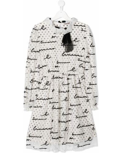 Белое ажурное платье с рукавами с вышивкой с вырезом Ermanno Scervino Junior