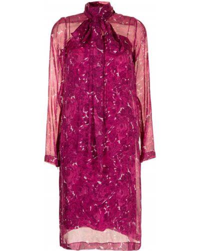 Шелковое платье миди - розовое N°21