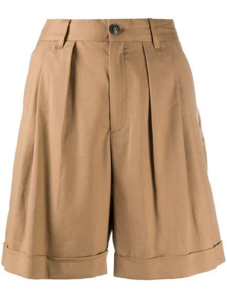 Коричневые льняные короткие шорты с карманами Closed