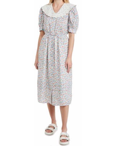 Платье миди с короткими рукавами с подкладкой с воротником Sea