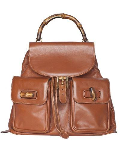 Кожаная коричневая модная сумка с ручками Gucci Vintage
