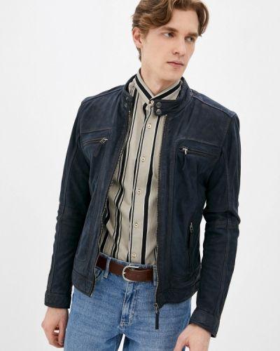 Кожаная куртка - синяя Oakwood
