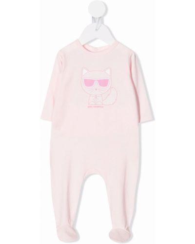 Garnitur bawełniany - różowy Karl Lagerfeld Kids