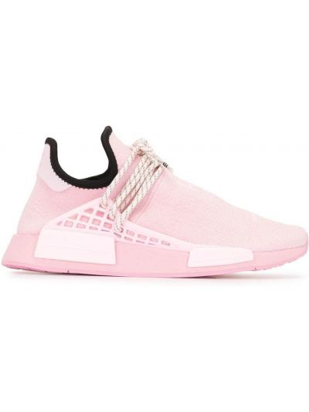 Różowe sneakersy koronkowe sznurowane Adidas By Pharrell Williams