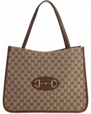 Skórzana torebka na ramię ażurowy Gucci
