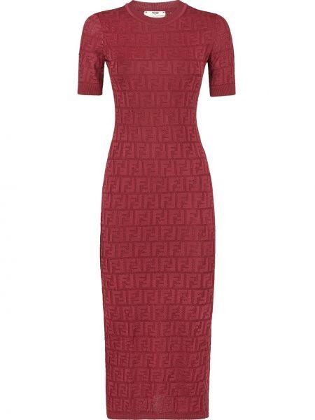 Облегающее красное вязаное платье мини Fendi