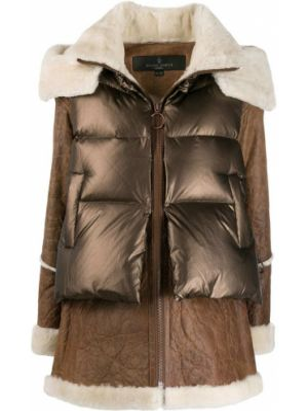 Нейлоновое пальто с капюшоном айвори с карманами Nicole Benisti