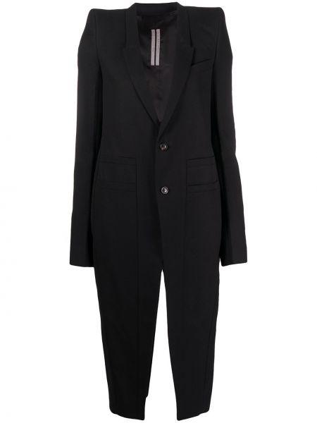 Czarny długi płaszcz zapinane na guziki z klapą z wiskozy Rick Owens