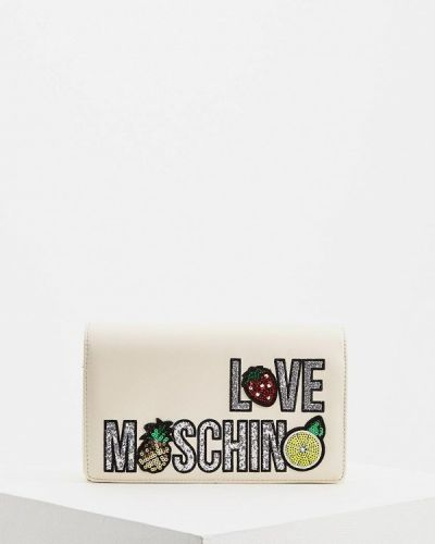 Кожаная сумка через плечо бежевый Love Moschino
