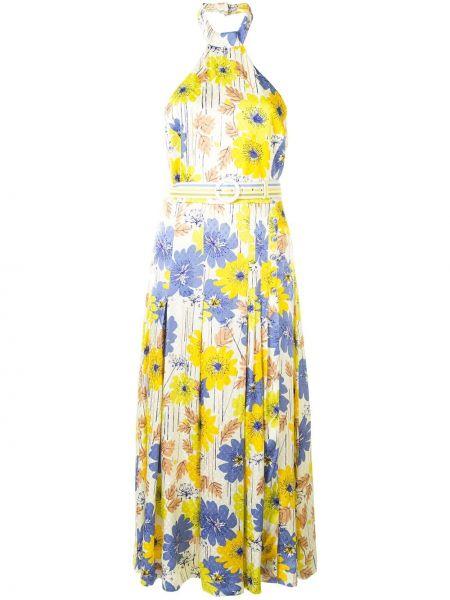 Желтое расклешенное платье миди с открытой спиной без рукавов Alice Mccall
