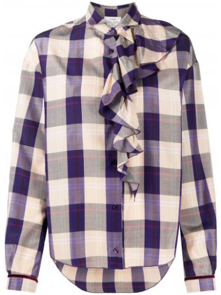 Шелковая блузка со вставками в клетку Forte Forte