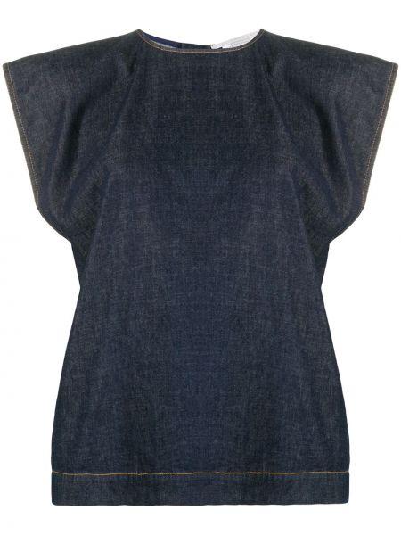Синяя джинсовая юбка на молнии с вырезом круглая Stella Mccartney