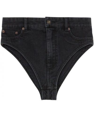 Однобортные черные джинсовые шорты со стразами Y/project