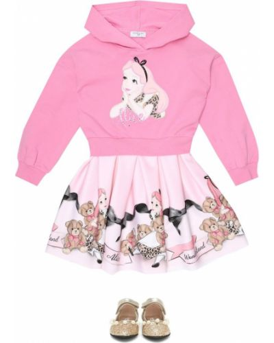 Bawełna bawełna różowy bluza z kapturem rozciągać Monnalisa