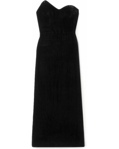 Бархатное платье миди - черное Monique Lhuillier