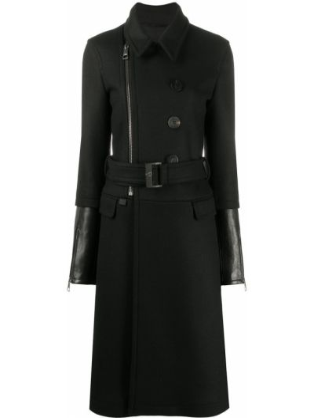 Черное кожаное пальто классическое с воротником Neil Barrett