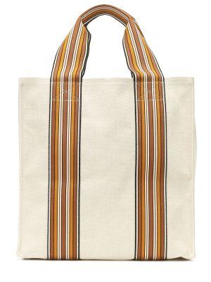 Ватная белая сумка-тоут из канваса с нашивками Loro Piana