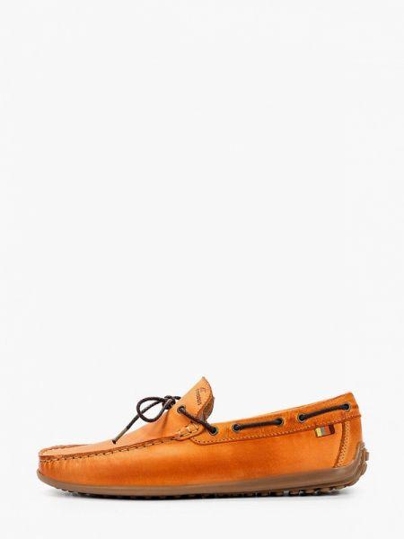Оранжевые кожаные мокасины Storm