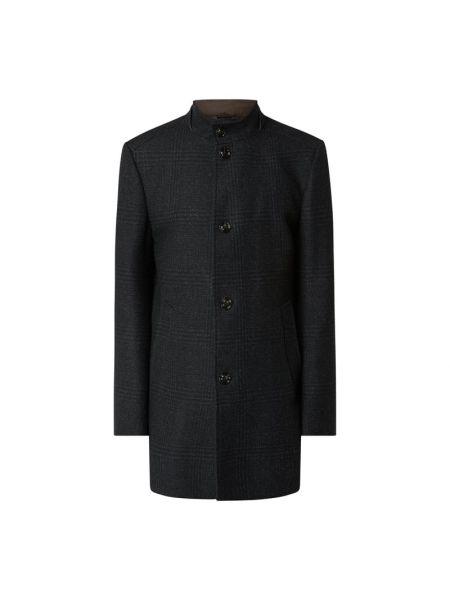 Niebieski wełniany płaszcz z kołnierzem z kieszeniami Joop! Collection
