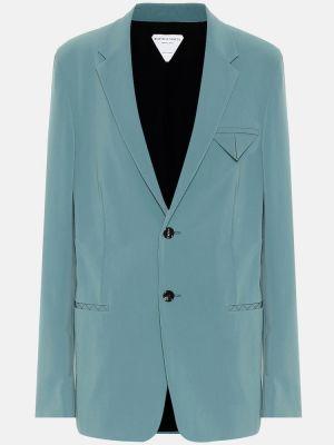 Нейлоновый синий пиджак стрейч Bottega Veneta
