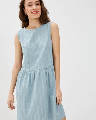 Бирюзовое прямое платье А-силуэта Shovsvaro