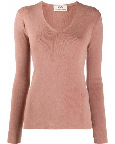 Кашемировый розовый джемпер с V-образным вырезом в рубчик Sminfinity