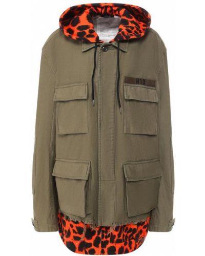 Куртка с капюшоном леопардовая с карманами R13